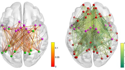 Increasing communication between the cingulo-opercular network and the dorsal attention network (left side), and decoupling of the default mode network from the cingulo-opercular network (right side) during short practice phases.