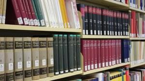 Das Foto zeigt ein Bücherregal, welches mit verschiedenen Buchbänden, aber auch einzelnen Büchern gefüllt ist.