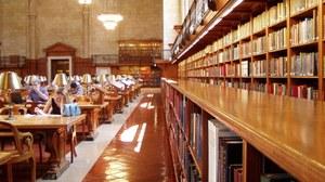 Das Foto zeigt den Lesesaal einer Bibliothek. Auf der linken Bildhälfte sind Arbeitsplätze, an welchen Studierende sitzen. Die recht Bildhälfte zeigt eine lange Reihe von Bücherregalen.
