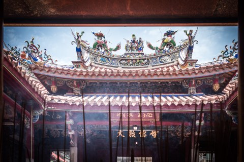 Decorated traditional Chinese temple roof in Tainan