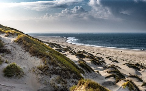 seaside panorama with dunes on Terschelling