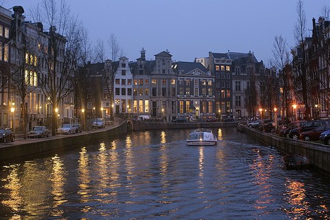 Amsterdam canal in the evening