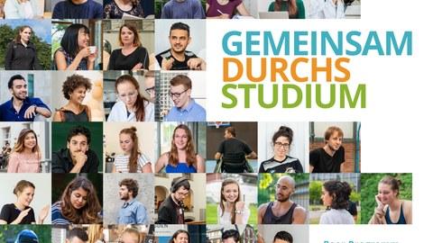 """Motiv des Peer Programms, auf dem viele verschiedene Gesichter von Studierenden der TU Dresden zu einem Mosaik zusammengesetzt sind, auf der rechten Seite Schriftzug """"Gemeinsam durchs Studium"""""""