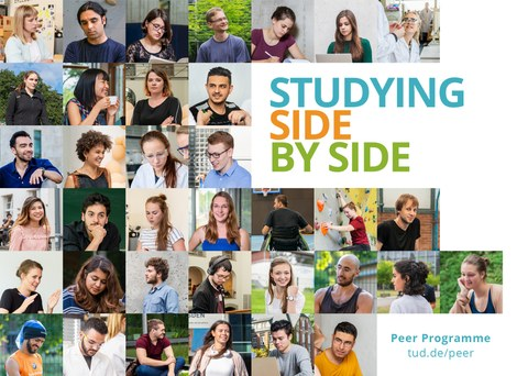 """Mosaic of many different faces, on the right sight writing """"studying side by side"""""""