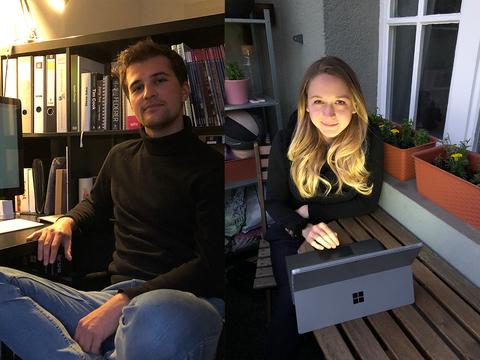Ein Student sitzt an seinem Schreibtisch, eine Studentin auf ihrem Balkon vor ihrem Laptop.
