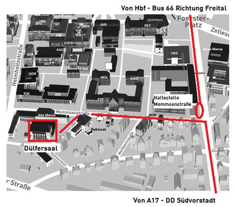 Karte mit eingezeichneter Anfahrt zum Dülfersaal
