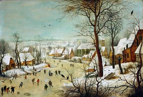 Peter Brügel - Winterlandschaft mit Eisläufern und Vogelfalle