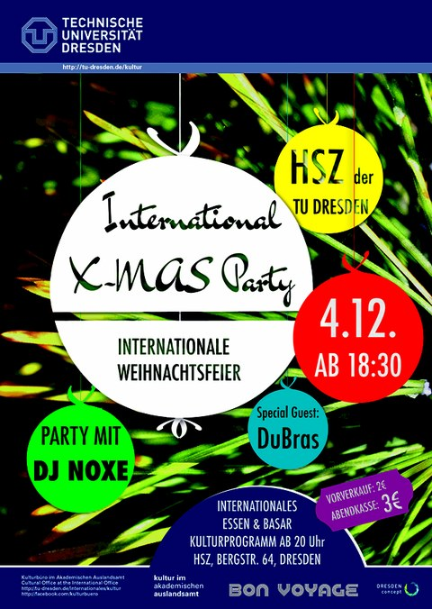 Flyer International X-MAS Party in the winter semester 2015/16