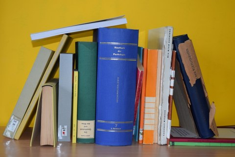 A wide variety of books are arranged on a shelf, symbolising a wide variety of conditions and needs.