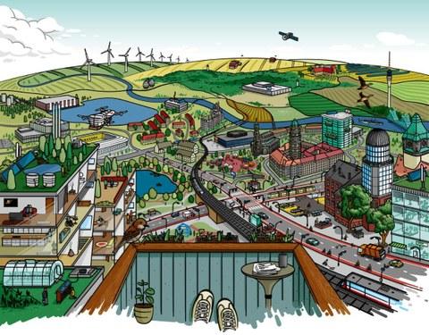 Das Bild zeigt eine Zeichnung einer Stadt von einem Balkon aus. Man sieht Häuser, Straßen und Felder dargestellt wie auf einem Wimmelbild.