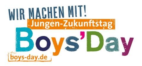 """Logo- Das Logo zeigt den Schriftzug: """"Wir machen mit! Jungen Zukunftstag"""" Boys Day."""
