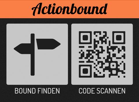 """Graphik Actin Bound App, Logo und Kacheln mit den Bezeichnungen """"Bound finden"""" und """" Code scannen"""""""