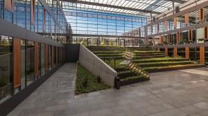 Foyer des Neubaus der Biologischen Institute der TU Dresden. Darin wachsen zahlreiche Pflanzen.