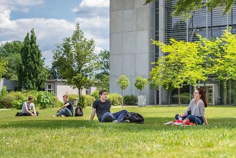 Studierende sitzen auf der Wiese hinter dem Hörsaalzentrum.