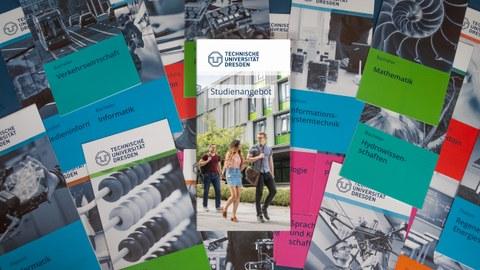 Viele Studiengangsflyer liegen zusammen. In der Mitte liegt die Broschüre Studienangebot