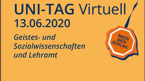 Graphik virtueller Uni-Tag am 13.06.2020 mit Bereichen Geisteswissenschaften und Lehramt