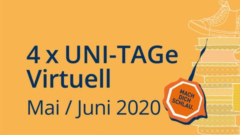 Logo vom Uni-Tag mit Aufschrift 4xUni-Tage virtuell Mai/Juni 2020
