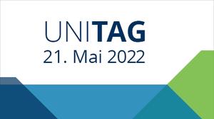 Schriftzug Uni-Tag 21. Mai 2022 und eckigen Farbflächen