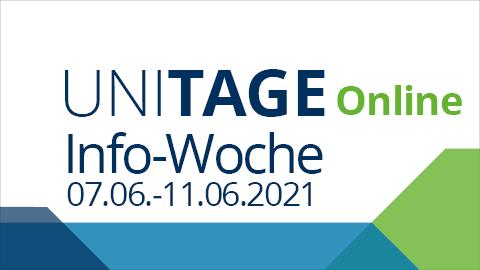 Graphik mit Schriftzug Uni-Tage online mit Info-Woche 07.06.-11.06.2021 und eckigen Farbflächen