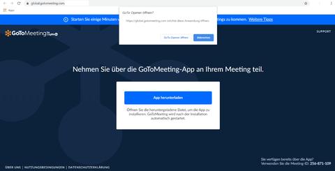 Startbildschirm von GoToMeeting