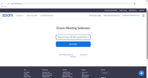 Startbildschirm der Website von zoom