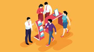 Grafische Darstellung von Personen mit orangem Hintergrund