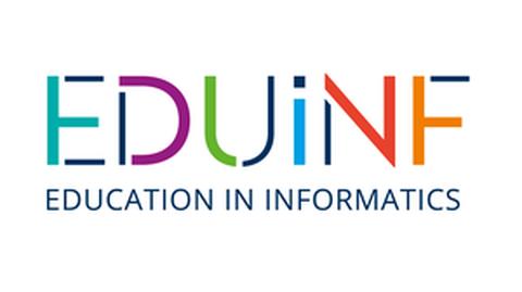 Die Buchstaben EDUiNF sind in verschiedenen Farben dargesellt.