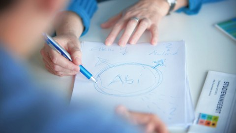 "A photo is shown. In the centre of the photo is a sheet of paper with writing on it. A circle with the inscription ""Abi"" can be seen on it, from which several arrows lead off in different directions."