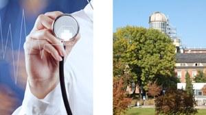 zwei Bilder nebeneinander: 1. Bild: der Arm eines Arztes mit Stetoskop in der Hand; 2. Bild: Blick auf die Sternwarte des Beyer-Baus an der TU Dresden mit einem großen grünen Baum davor
