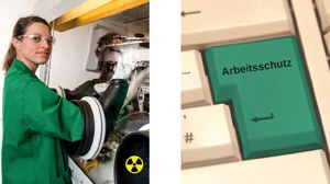 """two pictures side by side: 1st picture: laboratory scene in the radionuclide laboratory of the radiation protection office; 2nd picture: green colored ENTER key with inscription """"Arbeitsschutz"""""""