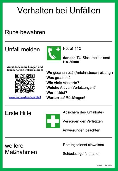 Aushang Unfall TU Dresden