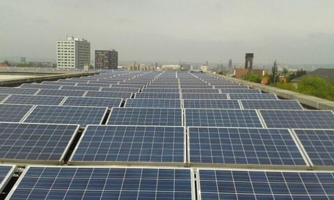 Solaranlage auf einem TU Gebäude