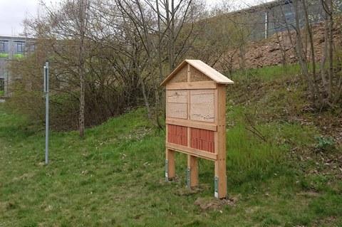 Das Foto zeigt ein neues Insektenhotel am LZR.