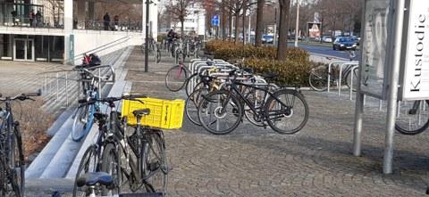 Fahrradbügel am Bürogebäude Zellscher Weg