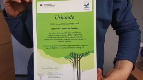 Urkunde EMAS Award 2018