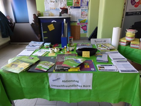 Information booth of the environmental management on TU Dresden Day of environmentally friendly office