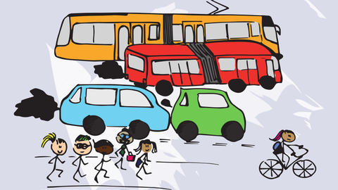 Cartoon with train, bus, cars, cyclists and pedestrians