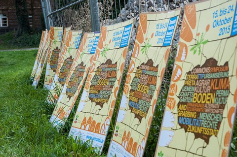 a row of posters of the Dresden UMUNDU-Festival