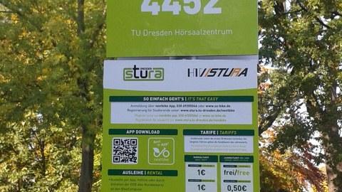sign of the rental bike system SZ Bike