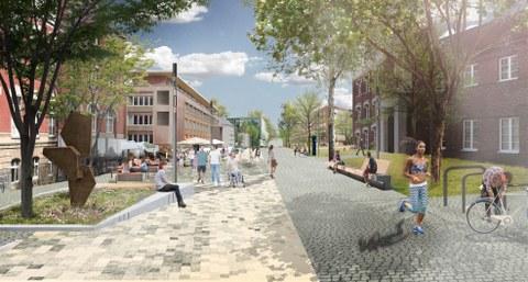 Perspektive Sachsenberg-Bau und Walter-Frenzel-Bau mit Ausstattungselementen im Außenraum, Vision der zukünftigen Entwicklung