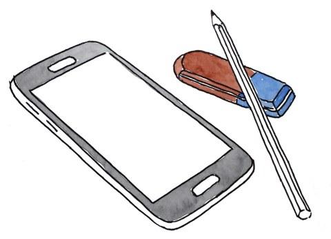 Zeichnung von Smartphone, Stift und Radiergummi