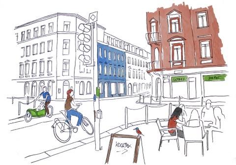 Zeichnung Stadtansicht von Dresden, Straßenszene