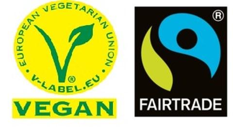 Logo von Ernährungslabeln, vegan und Fairtrade
