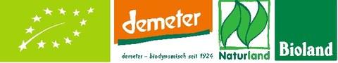 Logo von Bio-Labeln ie demeter, naturland und bioland