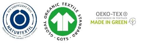 Logos von Kleidungslabeln wie ivnbest, gots und made in green
