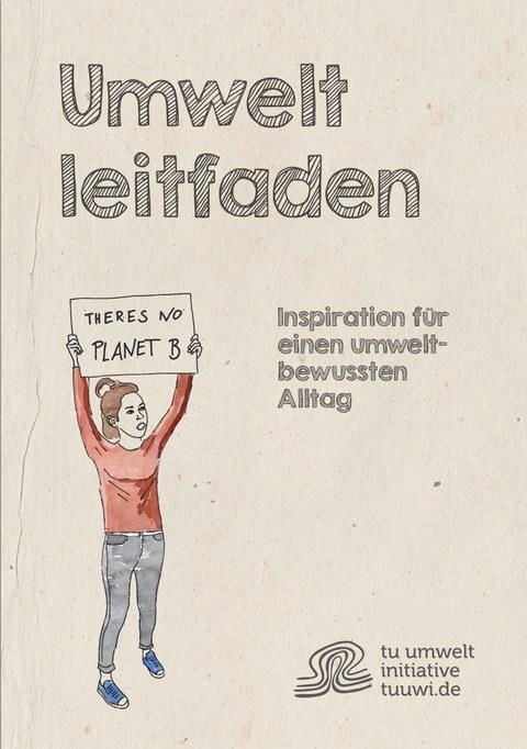 Zeichnung als Cover, FRau hält ein Plakat nach oben