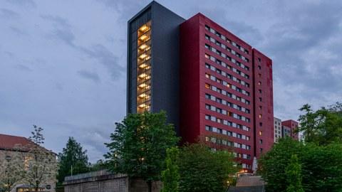 Foto eines Studentenwohnheimes der TU Dresden