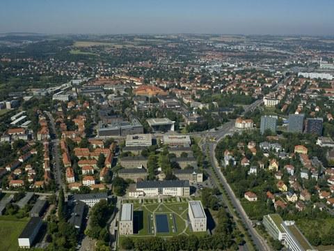 Luftaufnahme des Hauptcampus der TU Dresden