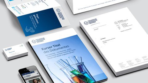 Verschiedene Kommunikationsmittel der TU Dresden im Corporate Design
