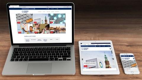 Mockup mit Laptop, Tablet und Smartphone, welche die TUD-Startseite zeigen